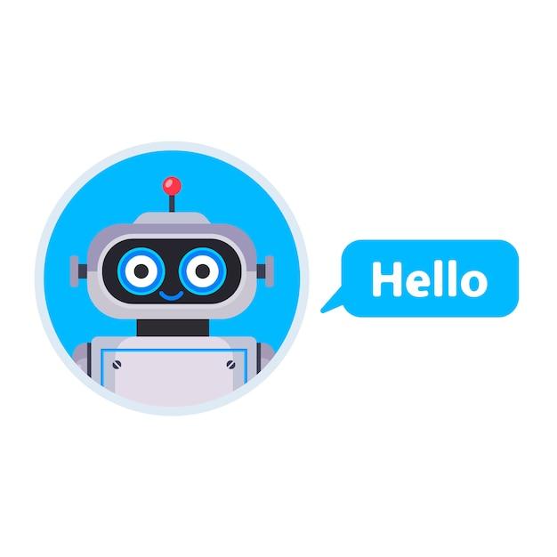 Chatbot begon een gesprek. assistent voor alle problemen. vlakke karakter illustratie Premium Vector