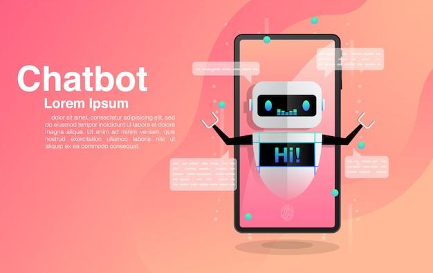 Chatbot, chatbot in smartphone, chatten met chatbot-applicatie, chatbot-technologie en online helpcentrum, Premium Vector