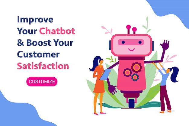 Chatbot, chatbot, robotontwikkeling, automatisering, banner Premium Vector