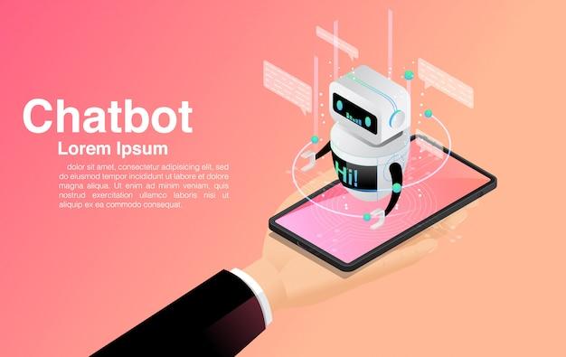 Chatbot, chatten met chatbot-toepassing, chatbot-technologie en online helpcentrum, Premium Vector