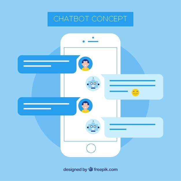 Chatbot concept achtergrond met mobiel apparaat Gratis Vector