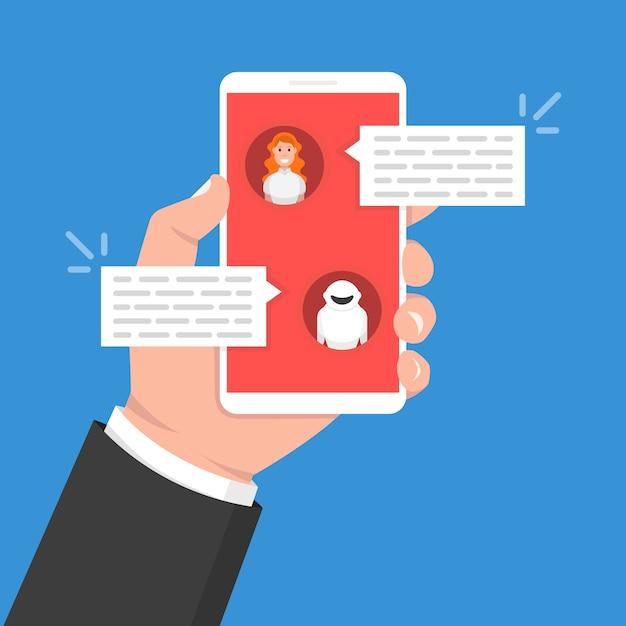 Chatbot concept. vrouw chatten met chat bot op smartphone Premium Vector