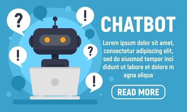 Chatbot help banner, vlakke stijl Premium Vector