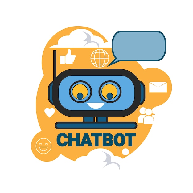 Chatbot icon concept ondersteuning robottechnologie digitale chat bot-toepassing Premium Vector