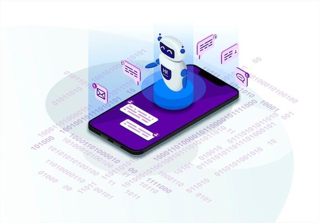 Chatbot isometrische illustratie Premium Vector