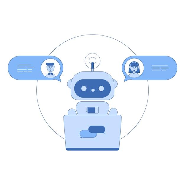 Chatbot lijn pictogram in trendy platte ontwerp Premium Vector