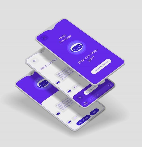 Chatbot mobiel app concept met 3d mockups Premium Vector