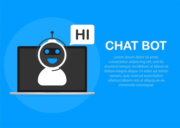 Chatbot pictogram concept, chat bot of chatterbot. Premium Vector