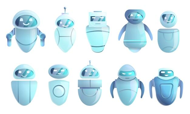 Chatbot pictogrammen instellen, cartoon stijl Premium Vector