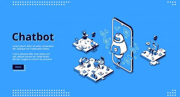 Chatbot-robot ondersteunt mensen op kantoor Gratis Vector