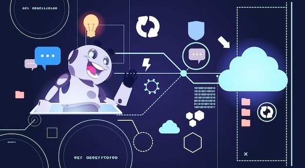 Chatbot robot technology, chatterbot met behulp van digitale tablet virtual assistance Premium Vector