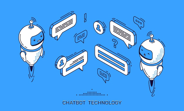 Chatbot technologie banner. ai robot client-ondersteuning Gratis Vector