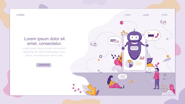Chatondersteuning smart chatbot Premium Vector