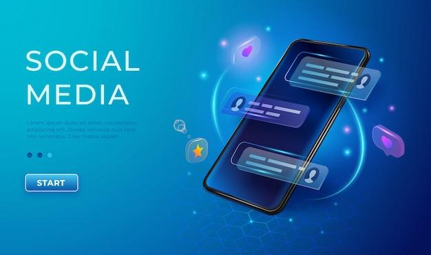 Chatten en communicatie concept 3d. telefoon met likes en berichtpictogrammen. smartphone applicatie sociale media banner Premium Vector