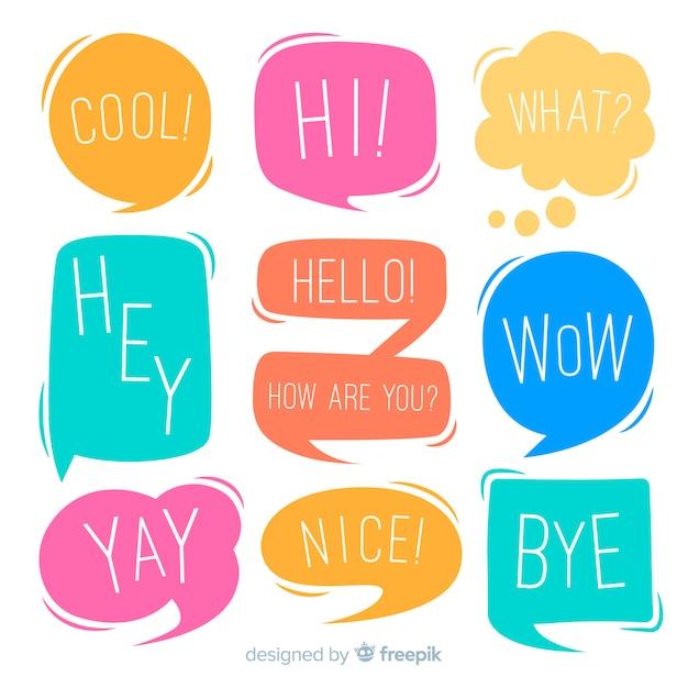 Chatten zinnen op kleurrijke spraak bubbels collectie Gratis Vector