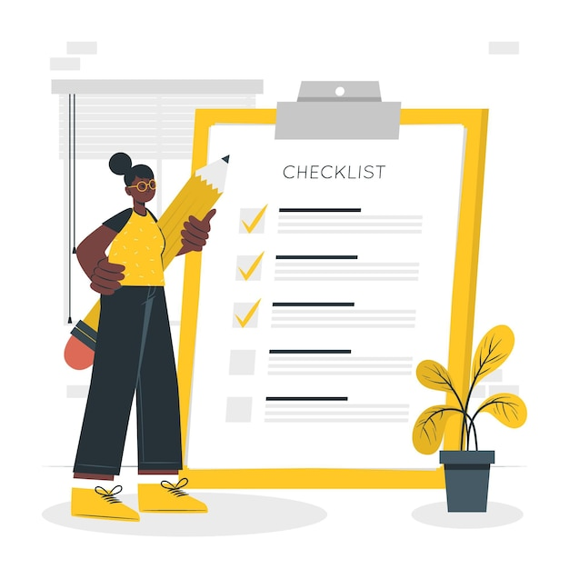 Checklist concept illustratie Gratis Vector