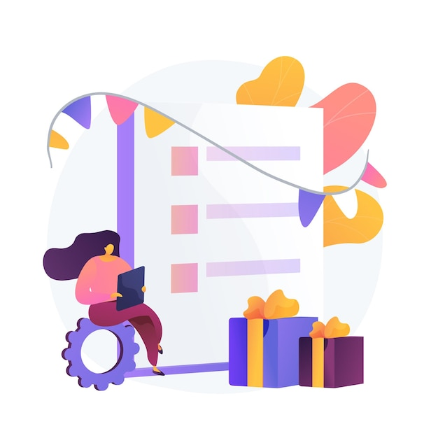 Checklist voor het kopen van cadeaus. meisje stripfiguur online cadeautjes kopen. e-commerce, cadeaubon, promotie. verjaardag, jubileumbonus. Gratis Vector