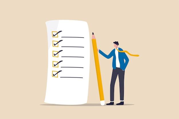 Checklist voor voltooiing van het werk, beoordelingsplan, bedrijfsstrategie of takenlijst voor concept van verantwoordelijkheid en prestatie Premium Vector