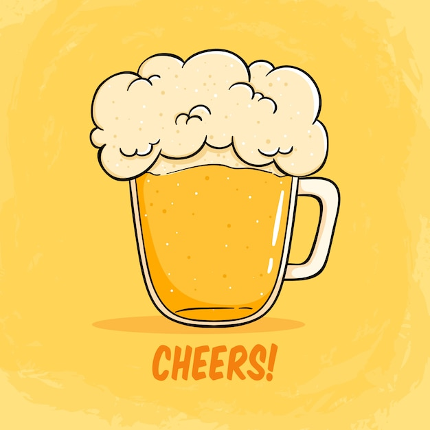 Cheers mate glas bier illustratie met schuim groot bier illustratie Premium Vector