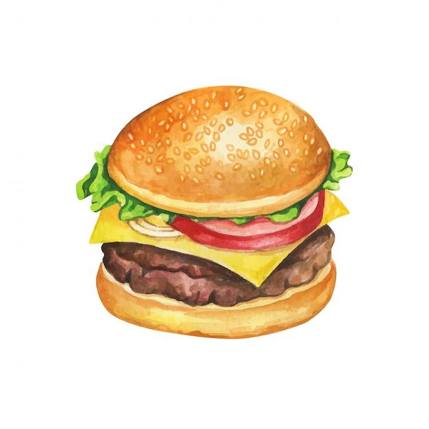 Cheeseburger aquarel. Premium Vector