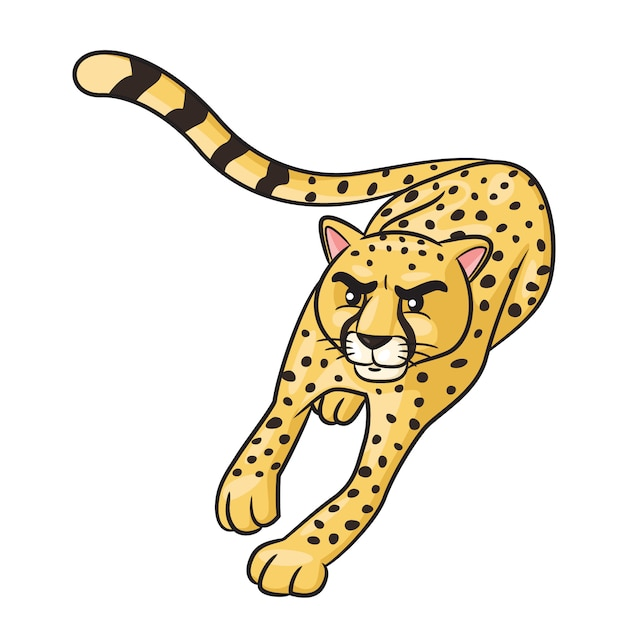 Cheetah cute cartoon Premium Vector
