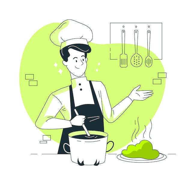 Chef concept illustratie Gratis Vector