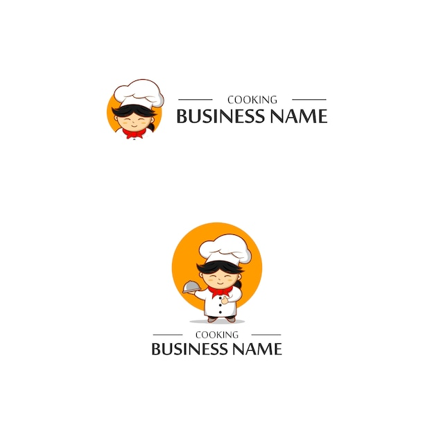 Chef cooking logo Premium Vector