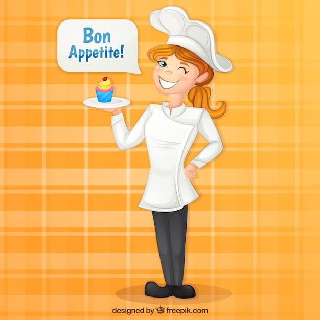 Chef-kok achtergrond met heerlijke cupcake Gratis Vector