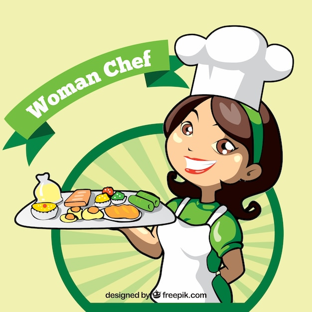 Chef-kok achtergrond met heerlijke voorgerechten Gratis Vector