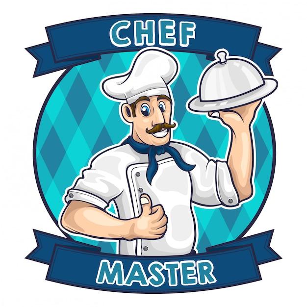 Chef-kok cartoon logo vectorillustratie Premium Vector