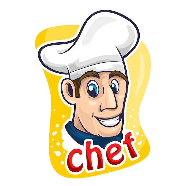 Chef-kok cartoon logo vectorillustratie Premium Vector