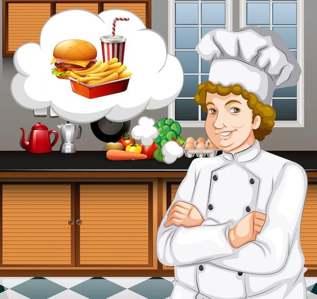 Chef-kok die in de keuken werkt Gratis Vector