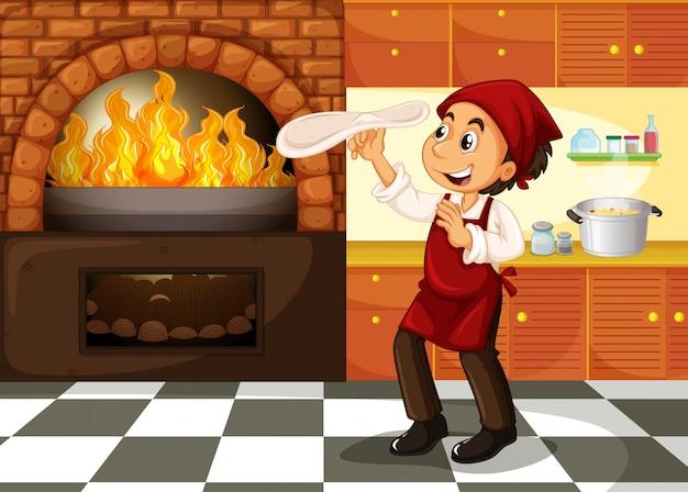 Chef-kok die pizza maakt bij heet fornuis Premium Vector