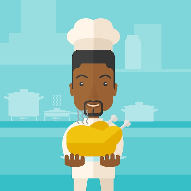Chef-kok die smakelijke gekookte turkije voorstelt. Premium Vector