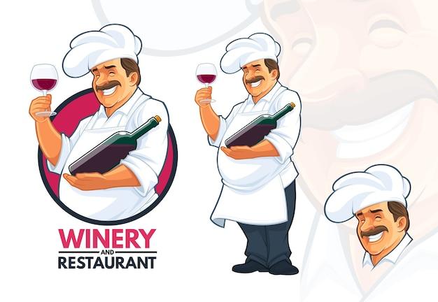 Chef-kok die wijn serveert Premium Vector