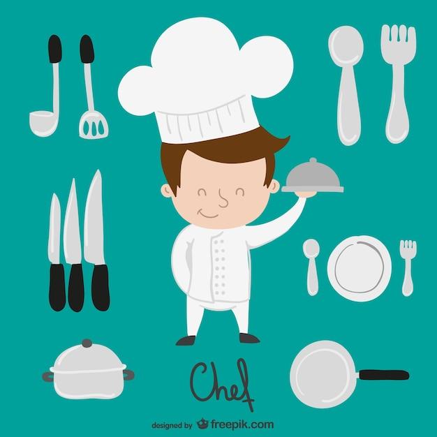 Chef-kok en keuken elementen cartoon Gratis Vector