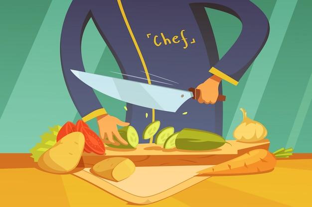 Chef-kok groenten snijden Gratis Vector