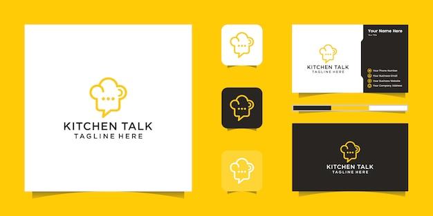 Chef-kok hoed logo en negatieve ruimte chat-pictogram en visitekaartje inspiratie Premium Vector