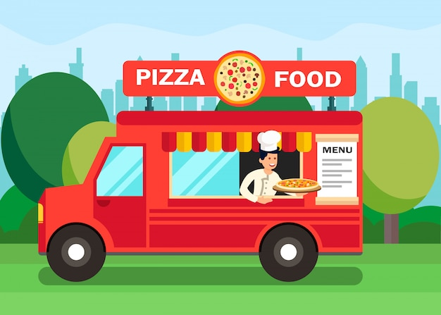 Chef-kok in pizza food truck cartoon illustratie Premium Vector