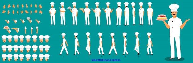 Chef-kok karakter modelblad met loopcyclus animatie volgorde Premium Vector