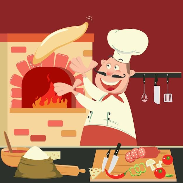 Chef-kok maakt pizza in de oven. pizzeria keuken. vector illustratie Premium Vector