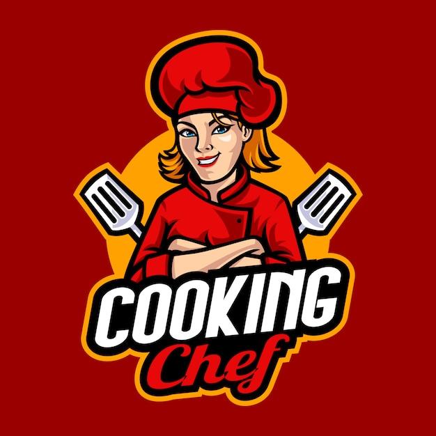 Chef-kok mascotte cartoon afbeelding Premium Vector