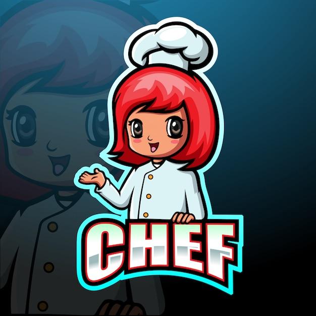 Chef-kok mascotte esport illustratie Premium Vector