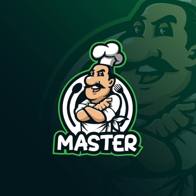 Chef-kok mascotte logo ontwerp vector met moderne illustratie Premium Vector