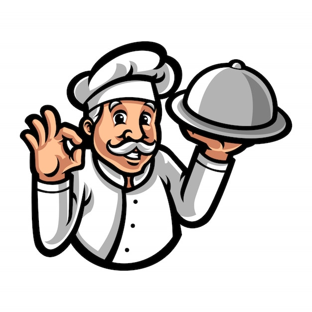 Chef-kok mascotte stripfiguur Premium Vector
