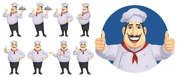 Chef-kok tekenset Premium Vector