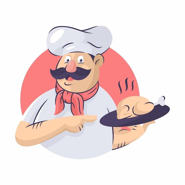 Chef-kok vector pictogram illustratie Premium Vector