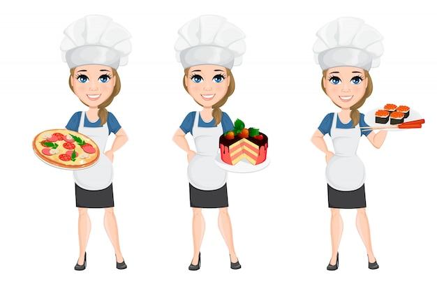 Chef-kok vrouw set. leuke stripfiguur kok Premium Vector