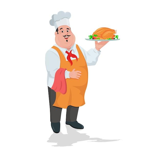 Chef-kokkok met geroosterde kip op plaat Premium Vector