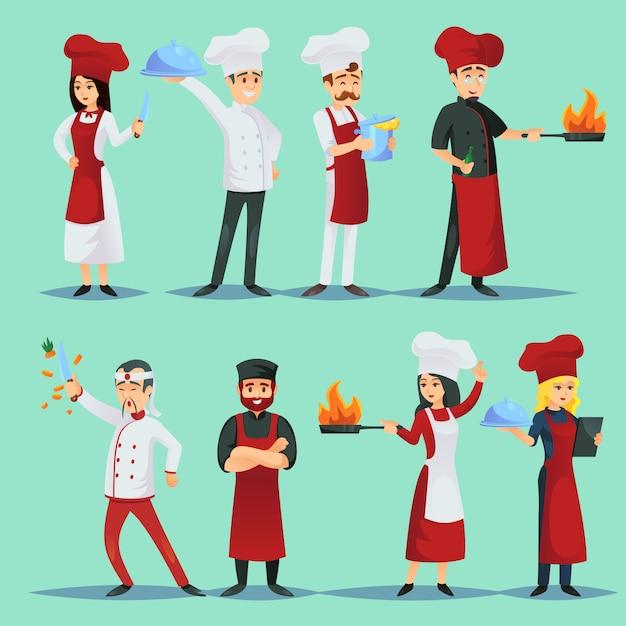 Chef-koks van verschillende keukens in icon set Premium Vector